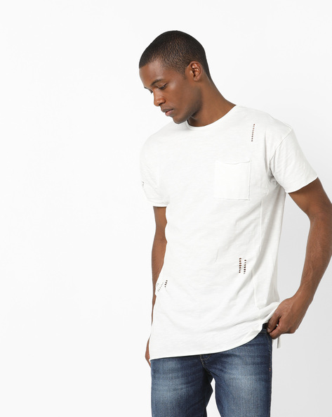 Longline Crew-Neck T-shirt With Cut-Outs By AJIO ( Offwhite )