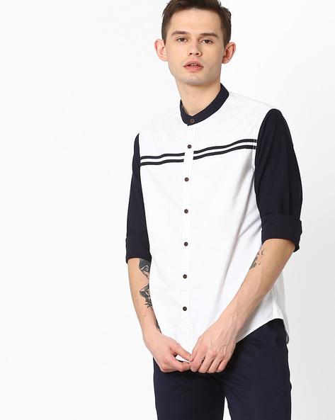 Cut & Sew Slim Fit Shirt By AJIO ( White )