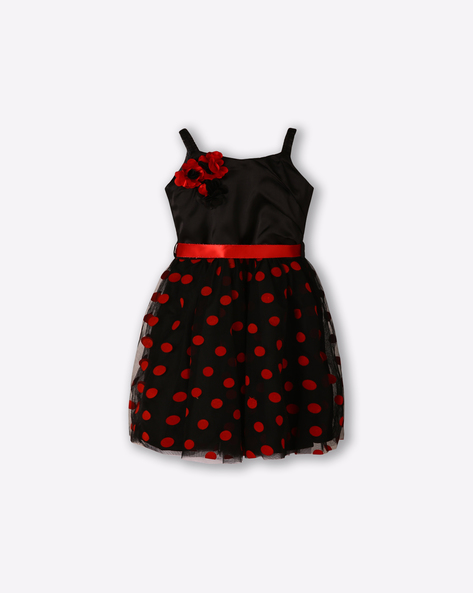 Polka-Dot A-line Dress By Cutecumber Exclusive For Ajio ( Red )