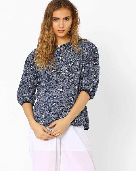 Printed Top With Bishop Sleeves By CHM ( Navy )