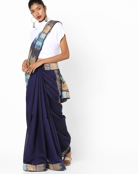 Half & Half Saree With Woven Design By Parmita ( Blue )