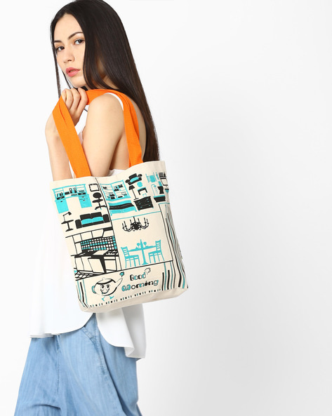 Printed Canvas Tote Bag By Kanvas Katha ( Ecru ) - 460061128001