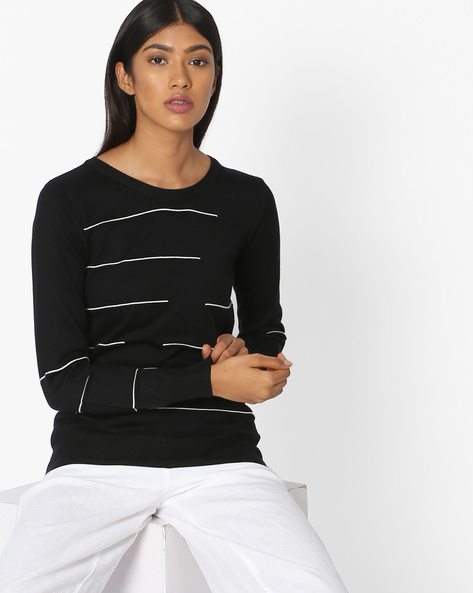 Striped Top With Ribbed Hems By Teamspirit ( Black )