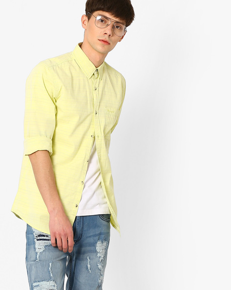 Regular Fit Striped Cotton Shirt By WRANGLER ( Blue )