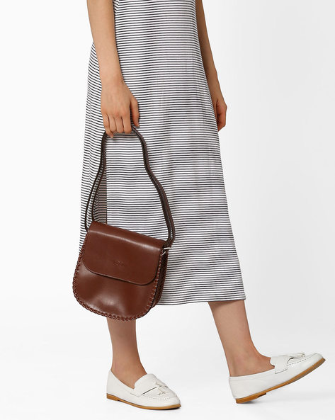 Saddle Bag With Whipstitch By Pockit ( Brown )