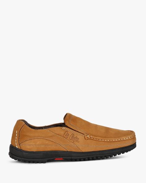 Genuine Leather Slip-Ons By Lee Cooper ( Beige )