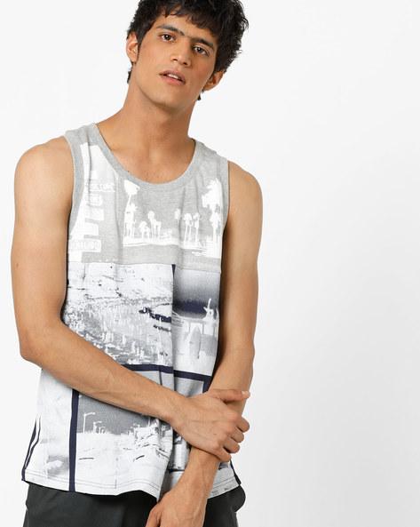 Graphic Print Panelled Sleeveless T-Shirt By AJIO ( Blue )