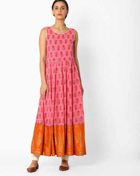 Floral Print Kurta With Zari By Global Desi ( Pink )