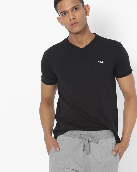 V-neck T-shirt With Contrast Branding By FILA ( Black )