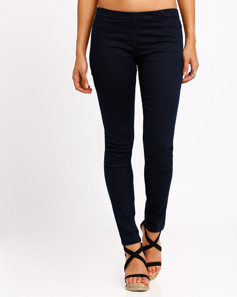 Ankle-Length Jeggings By Go Colors ( Aqua )