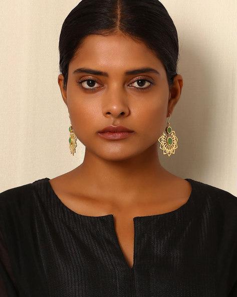 Gold-Plated Brass Drop-Earrings By Indie Picks ( Multi )