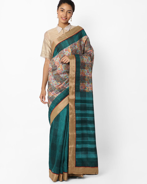 Printed Saree With Contrast Border By VIPUL ( Teal )