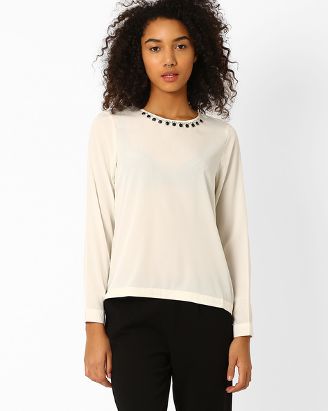 Top With Embellished Neckline By FIG ( Offwhite )