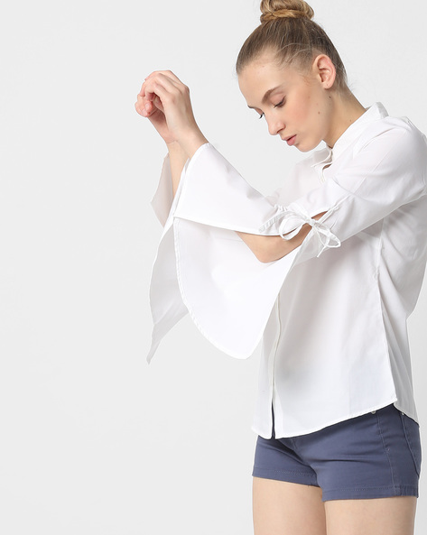 Shirt With Bell Sleeves By FIG ( White )