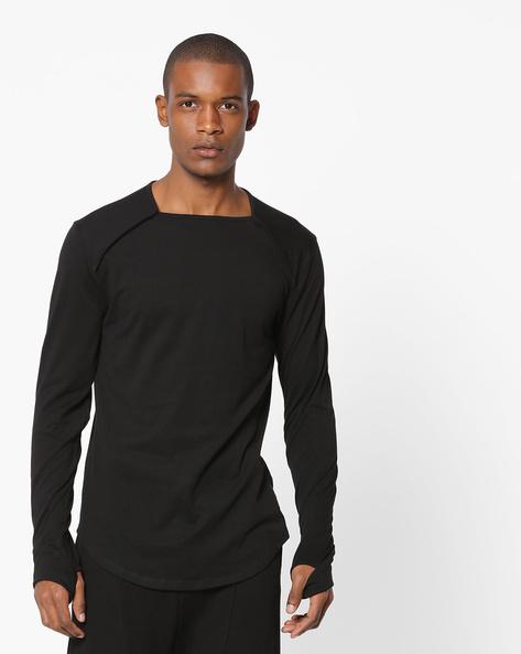 Longline T-shirt With Thumbhole Sleeves By KULTPRIT ( Black )