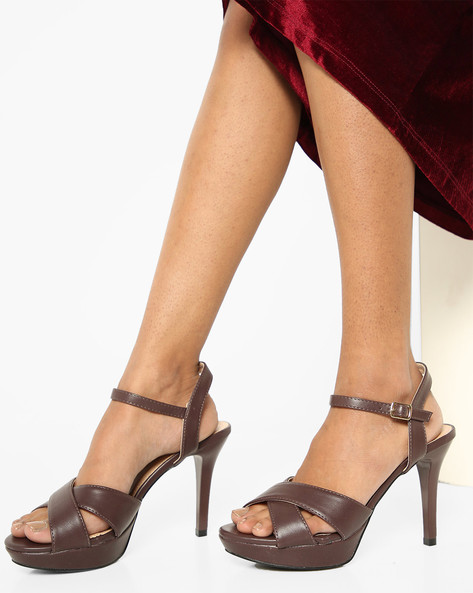 Peep-Toe Platforms With Ankle Strap By AJIO ( Brown )
