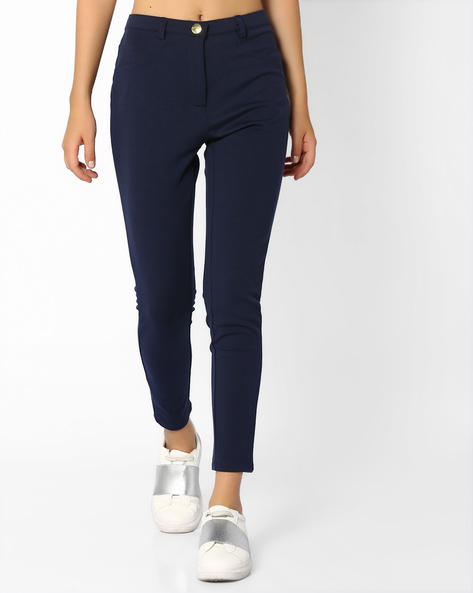 Flat-Front Ankle-Length Trousers By AJIO ( Navyblue )