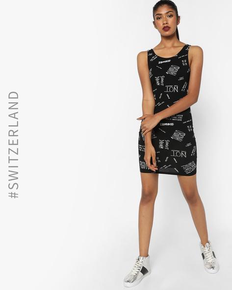 Typographic Sleeveless Bodycon Dress By TALLY WEiJL ( Black )