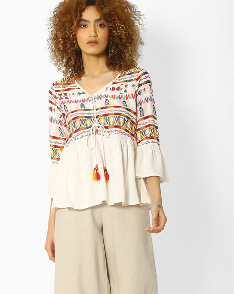 Graphic Print Panelled Top By COLOUR ME ( White )