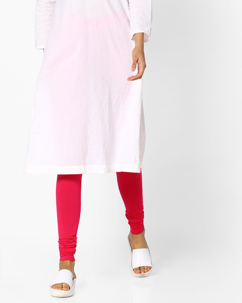 Churidar Leggings With Elasticated Waistband By Project Eve IW Casual ( Fuchsia )