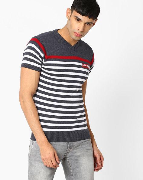 Striped V-neck T-shirt By TEAM SPIRIT ( Red )