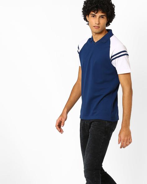 Cut & Sew Slim T-shirt With Raglan Sleeves By AJIO ( Blue )