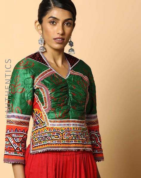 Kutch Embroidered Backless Blouse By Indie Picks ( Multi ) - 460103668001