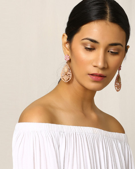 Filigree Tear-Drop Shaped Earrings By Indie Picks ( Peach )