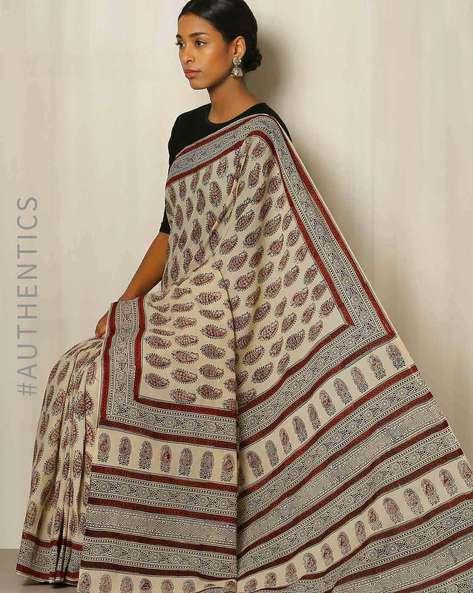 Bagru Handblock Print Cotton Saree By Indie Picks ( Red )