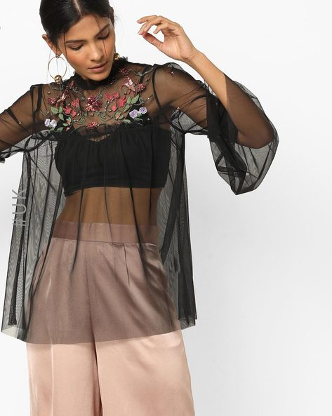 Embellished Sheer Top With Bell Sleeves By NEON ROSE ( Multi )