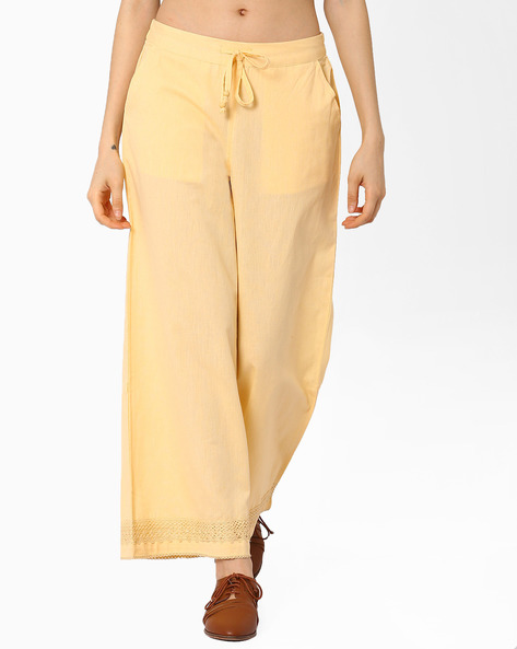 Palazzo Pants With Drawstring Fastening By AJIO ( Mustard )