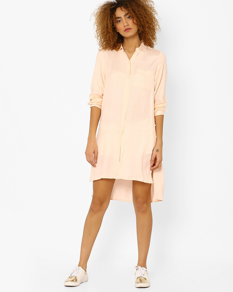 Shirt Tunic With High-Low Hem By CHEMISTRY ( Pink )