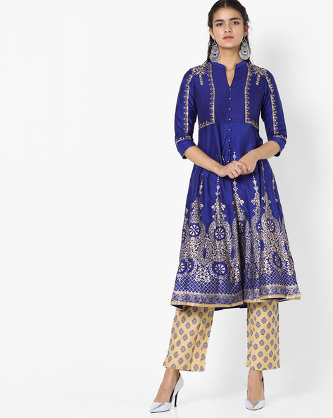 Embroidered Kurta With Printed Pants By Trishaa By Pantaloons ( Blue )