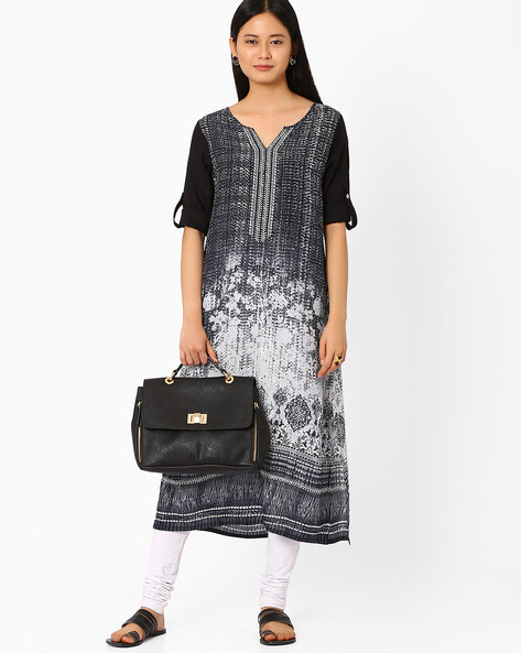 Printed Kurta With Notched Neckline By Global Desi ( Black )