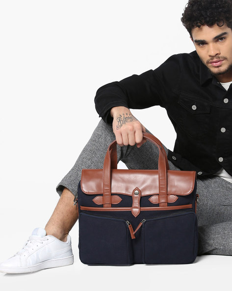 Laptop Messenger Bag By GAUGE MACHINE ( Navyblue )