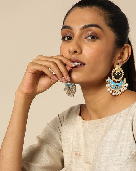 Meenakari Stone Earrings With Pearl Drops By Spargz ( Multi ) - 460146299001