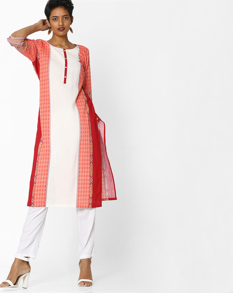 Printed Colourblock Straight Kurta By AURELIA ( Orange )