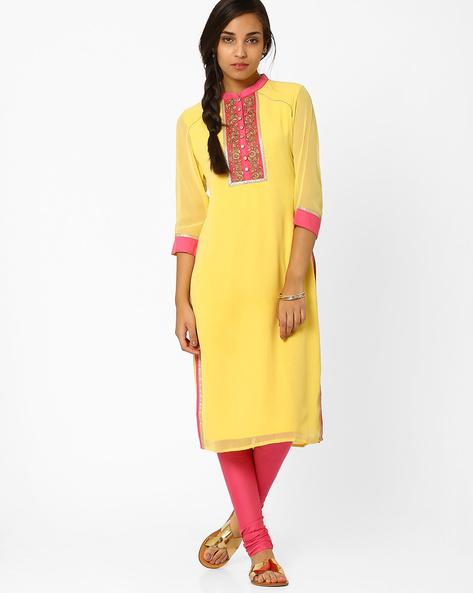 Kurta With Zari Embroidery By AJIO ( Yellow )