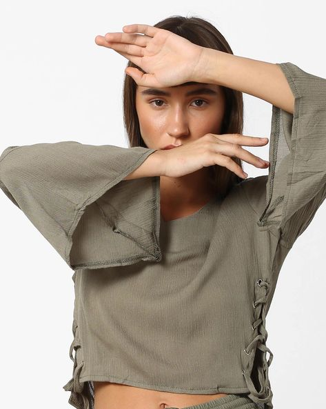 Top With Side Tie-Ups By Ginger By Lifestyle ( Olive )