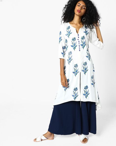 Floral Print Kurta With Front Slit By Shakumbhari ( Blue )