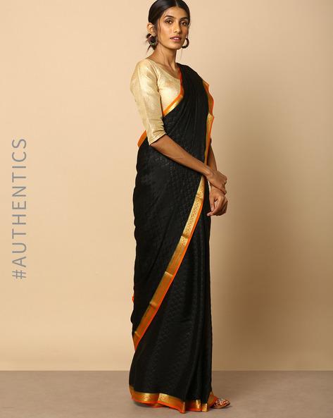 Pure Mysore Silk Crepe Embossed Saree With Zari Border By Indie Picks ( Black )