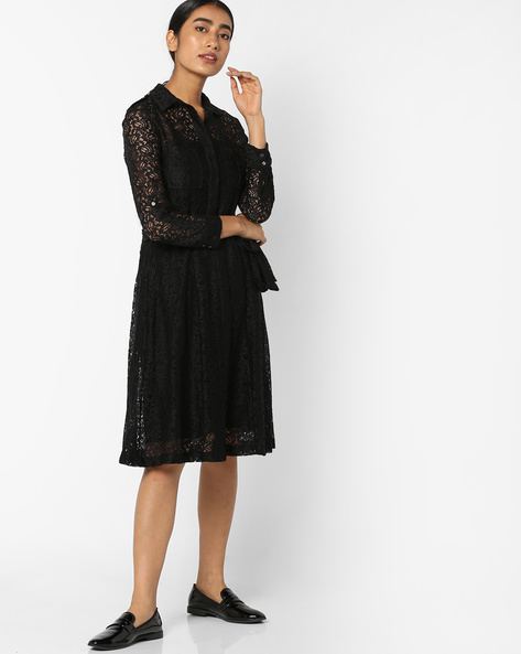 Sheer Shirt Dress With Lace Cutwork By Tokyo Talkies ( Black )