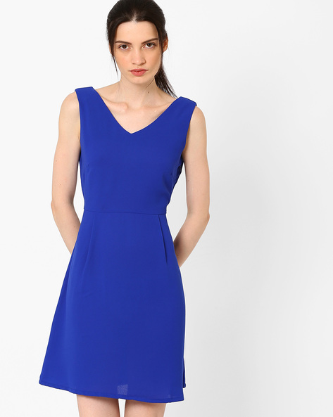 V-Neck Skater Dress By AJIO ( Blue )