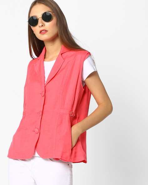 Linen Jacket With Notched Lapel By Oxolloxo ( Pink )