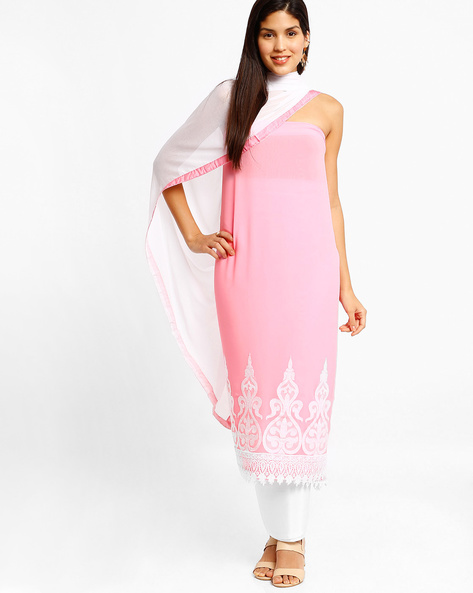 Embroidered Semi-Stitched Dress Material With Dupatta By Viva N Diva ( Pink )