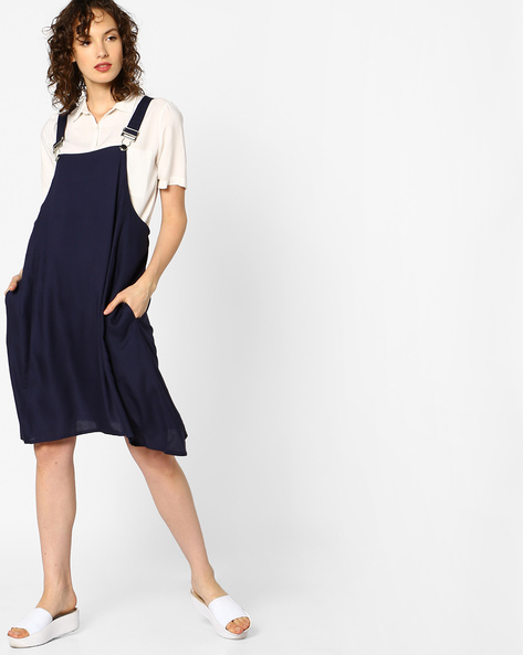 Dungaree Dress With Pockets By AJIO ( Navyblue )