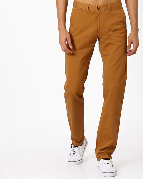 Tapered Fit Twill Stretch Trousers By BASICS ( Brown )