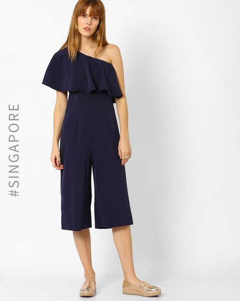 One-Shoulder Playsuit By MDS ( Blue )