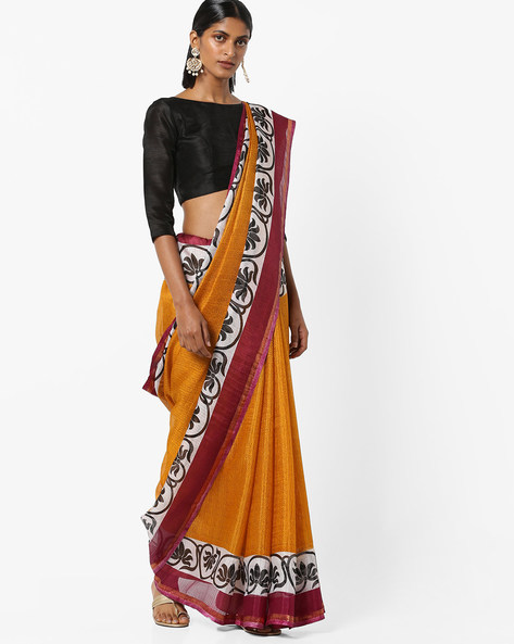 Mysore Silk Saree With Contrast Border By Florence ( Yellow )