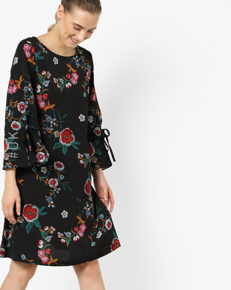 Floral Print Shift Dress With Bell Sleeves By OEUVRE ( Multi )